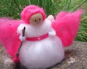 Pink Woodland Faerie - wool felt fairy