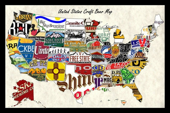 United states usa us craft beer brands wall map poster decor like this item gumiabroncs Gallery