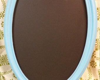 Oval Robin's Egg Blue Chalkboard