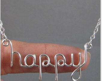 FREE SHIPPING!!!  happy Wire Word Pendant Necklace
