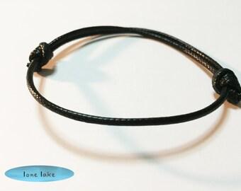 black wax cord bracelet-simple bracelet-mens bracelet-black bracelet-friendship bracelet