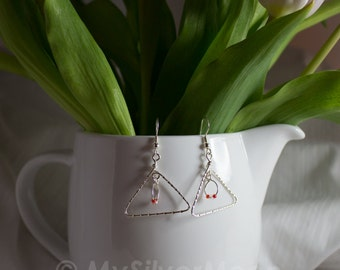 Fine Silver 999 Triangle Geometric Earrings wire wrapped with Fine Silver 999 Wire and Clear Glass & Orange Beads