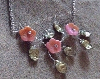 Peach Olive Branch Necklace; Peach Flowers and Olive leaves-whimiscal gift for the romantic