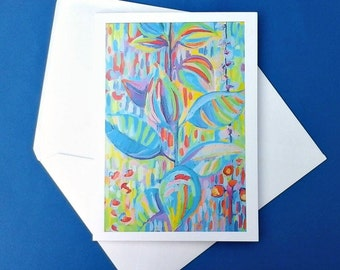 Floral art greeting card, any occasion printed card, no message inside greetings cards