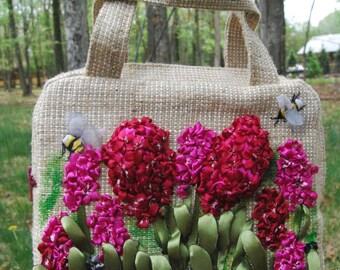 Designer purse   Handmade bag burlap   Bag   Bag burlap and silk ribbon   satin   gift   Embroidered Tote Bag   Flower Tote Bag   Handbags