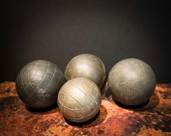 Set of 4 Vintage European Brass Bocce Balls