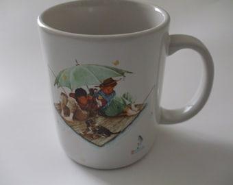 Vintage Norman Rockwell 'Fisherman's Paradise' Ceramic Mug Made in Japan 1987