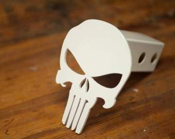 Punisher Trailer Hitch Cover - Powder Coated White