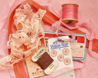 Vintage sewing kit, pink theme