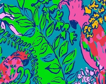 Lilly Pulitzer Patterned Vinyl Sheets - 12 x 12 Inch - Shake Your Tail Feather Print
