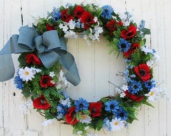 Summer Wreath, Daisy Wreath, Red White and Blue Wreath, Patriotic Wreath, Front Door Wreath, Blue Bow, Wreaths, Elizabeth and Co Wreath