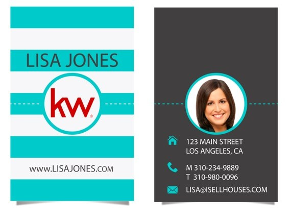 Real Estate Business Cards Aqua stripes by RealEstatedesigns
