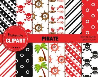 Pirate digital paper, pirate girl digital paper,  pirate paper, pirate, pirate party, scrapbooking, commercial use - PAP141