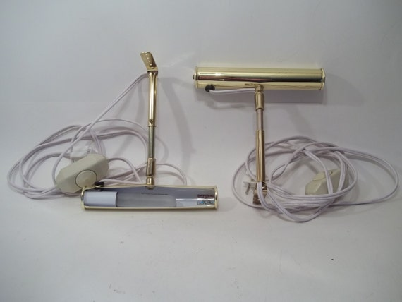 Wall Sconces With Dimmer : Vintage Leviton wall sconce set Brass bed by VintageJulzBoutique