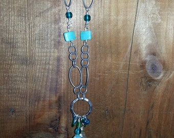 Blue/ Green Crystal Drop Necklace