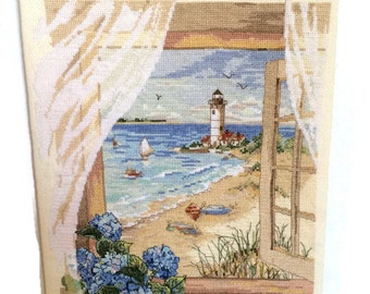 Completed Cross Stitch-Finished Cross Stitch-Ready to Frame-Finished Product-Cross Stitch-Beach-Hydrangeas-Window-view