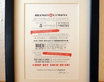 Oranges and Lemons - A5 Letterpress Typographic Print