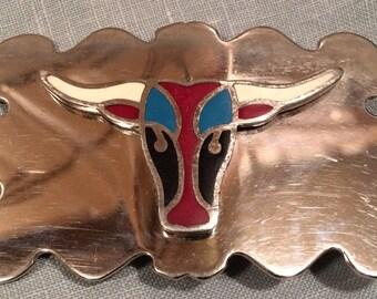 Vintage silver metal & enamel belt buckle