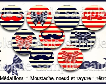 digital images * mustache and bow * Navy blue red sailor stripe vintage collage digital scrapbooking cabochon jewel