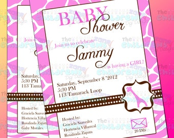 Baby Shower Giraffe Invitation 2 - Girl