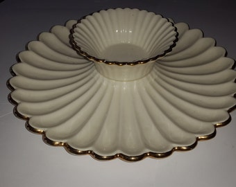 Vintage Beige With Gold Trim Porcelain Homemade Chip and Dip Plate Bowl