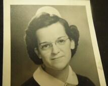 Vintage Nurse Photograph Black And White Photo Woman In Nurse  Uniform 4 x 5 Photograph 1950s Nurse