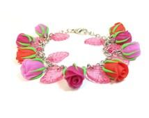Bracelet Handmade with Roses. Handmade Bracelet. Rose Bracelet. Bracelet with Red, Purple and Magenta Roses. Bracelet with Roses.