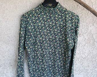 Greenfield: Vintage 90s green floral turtleneck sweater