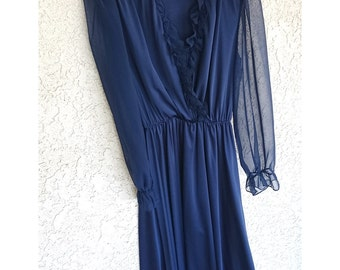 Shade of Blue: Vintage 80s, transparent sleeves, ruffled collar, dark blue dress