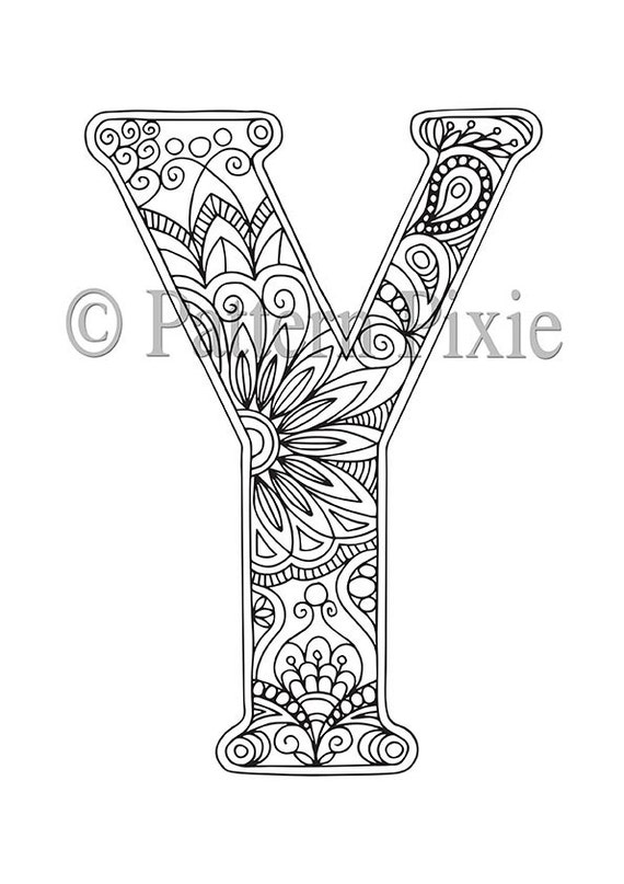 Adult Colouring Page Alphabet Letter Y