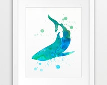 Shark Watercolor Print, Nautical Wall Art, Shark Silhouette Watercolor Aqua Blue Green, Sea Summer, Modern Art, Nursery Decor, Printable Art