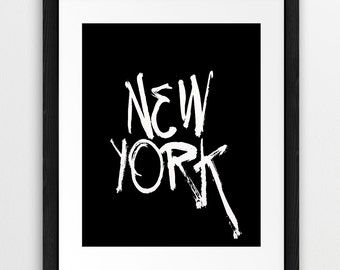 New York - Typography Printable File, New York  Black And White - Modern Wall Art Home Office Decor Digital Print Instant Download Art