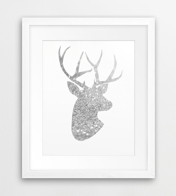 Silver Deer Antlers Wall Decor : Deer print antlers wall art silhouette silver glitter