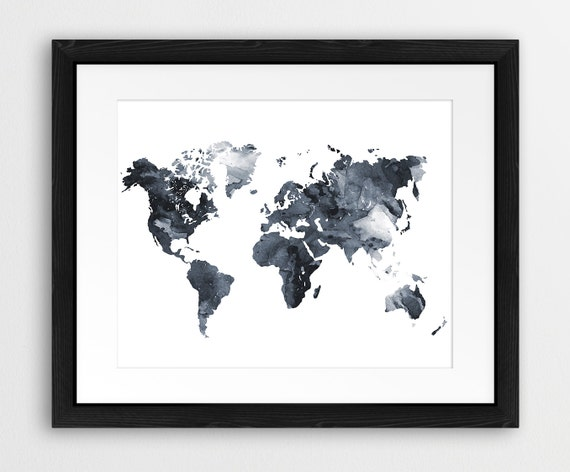 world map watercolor print world map silhouette by synplus on etsy. Black Bedroom Furniture Sets. Home Design Ideas