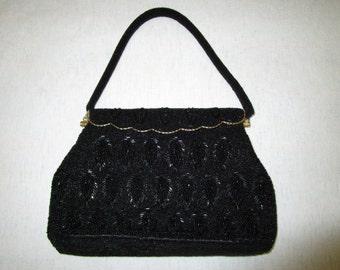 1950's Black beaded  handbag made in Hong Kong