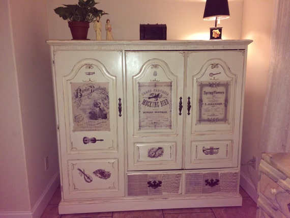 items similar to shabby chic entertainment center on etsy. Black Bedroom Furniture Sets. Home Design Ideas