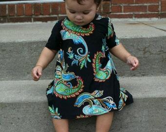 Paisley dress, baby girl dress, baby girl outfit, summer dress, newborn dress, baby dress, paisley print, girl summer dress