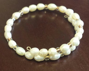 Fresh Water Pearl Wire Wrap Bracelet