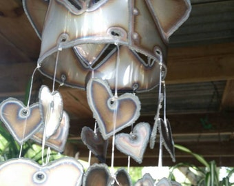 Heart wind chime Round hearts with hearts hanging.