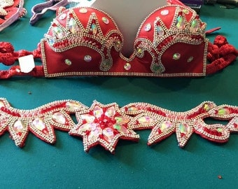 Red Belly Dance Bra and Belt set