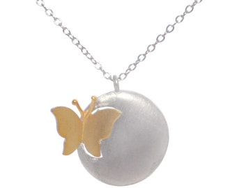 Paper cut Inspired Breaking Cocoon Butterfly Pendant Necklace in Sterling Silver with 18ct Gold Plating Brushed Finish 16'' - 18''
