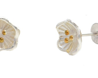 Dainty Buttercups Flower Blossom Stud Earrings in Sterling Silver with Gold Plate e49