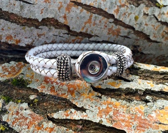 White Rope Leather Bracelet