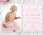 Pink and Gold Photo Baptism Invitation Christening Invitation | Printed Professionally on Luxe Cardstock | Personalised