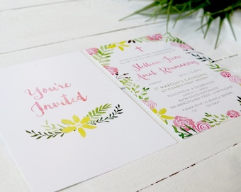 Pink Floral Christening or Baptism Invitation | Photo Invitation | Printed On Luxe Cardstock | Watercolour Garden Party