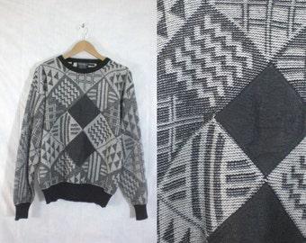 40%offAug18-21 mens geometric sweater size medium, leather sweater, black white sweater, acrylic 80s sweater, mens sweater mens jumper