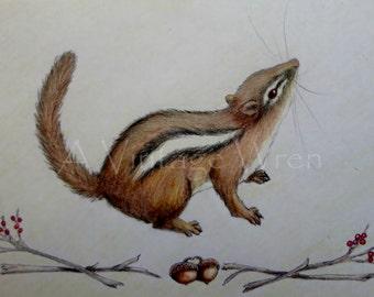 Chipmunk art/ Nursery art/Cute chipmunk/ Nature art/ Animal lover/Original art