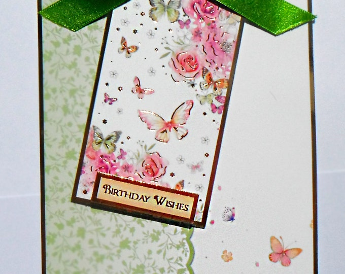 Greeting Card, Birthday Card, Green Ribbon Bow, Floral Butterflies, Tag Card, Female,Any Age, Mum, Daughter, Sister, Niece, Aunt