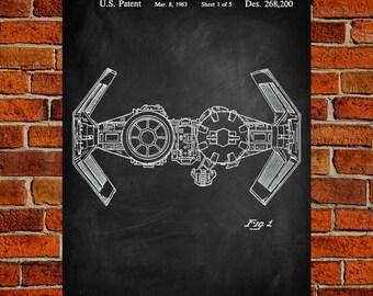 Star Wars Art Print, Tie Bomber Patent, Tie Bomber Vintage Art, Tie Bomber Blueprint, Tie Bomber Poster, Tie Bomber Print, Wall Art, Decor