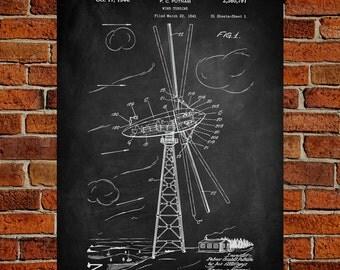 Wind Turbine Fine Art Prints, Patent, Vintage Art, Blueprint, Poster, Patent Prints, Wall Art, Décor